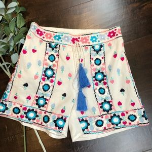 Embroidered White Cotton Shorts Tassels Lined NWT